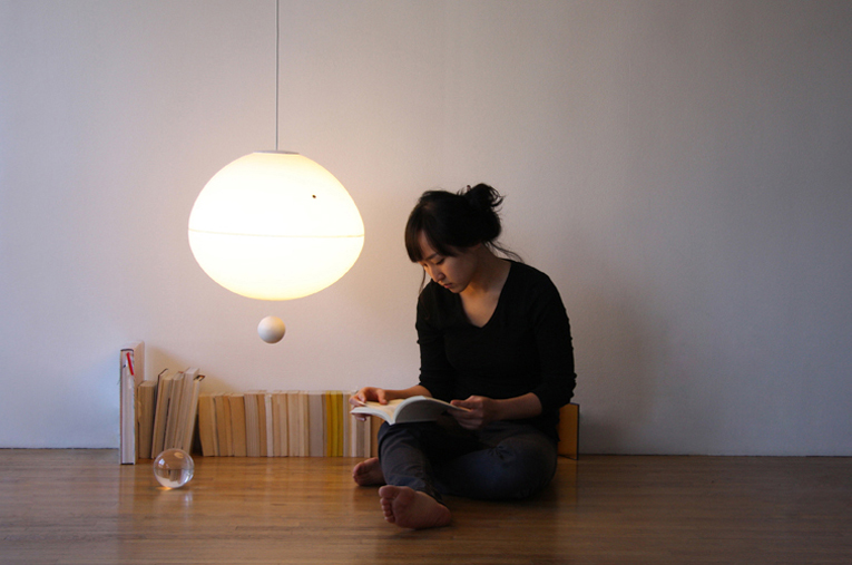 Futuristic Lamp Controlled By Floating Switch Orb