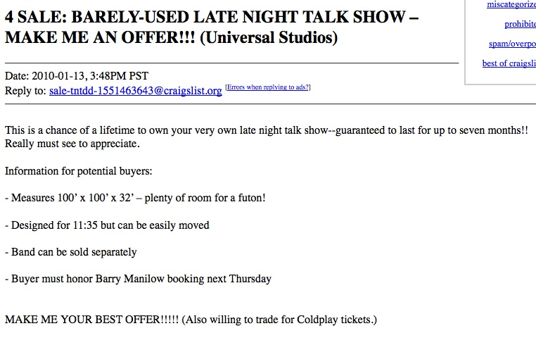 Conan Sells The Tonight Show On Craigslist